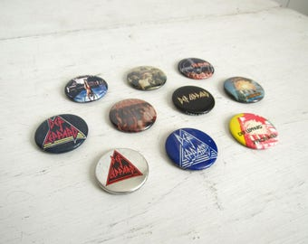 Def Leppard Pins - Vintage 1980s Pin Back Buttons - Rock Band Memorabilia
