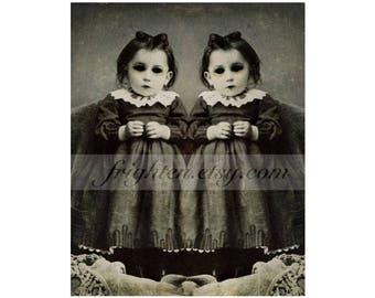 Halloween Wall Art, 8x10 Inch Print, Creepy Twins Art, Black and White, Horror Decor, Halloween Decor