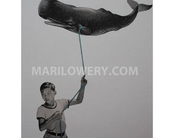 One of a Kind Surreal Art of Boy with Whale Kite, 8.5 x 11 Inch Retro Mixed Media Paper Collage with Embroidery Thread