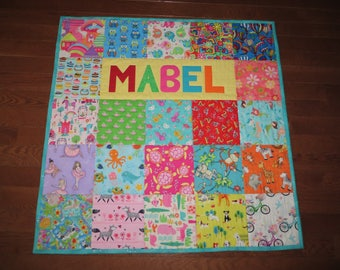 Personalized Baby Quilt Gender Neutral colors, custom colors and Themes, Animals, Cats, Dogs, Wild Animals and much more, Handmade