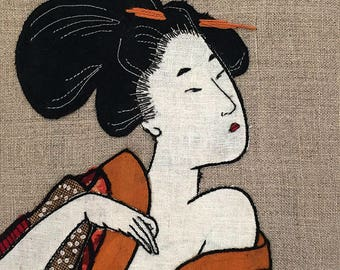 Japanese Art Embroidery , framed with Maple Wooden Frame.
