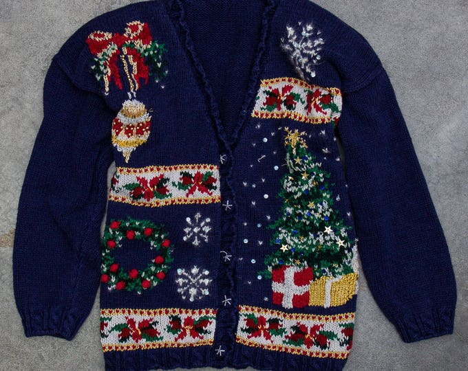 Vintage Ugly Christmas Sweater Oversized Cardigan Size XL | Winter Holiday Jumper Cardie 7CD