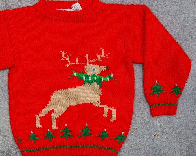 Vintage Kids Ugly Christmas Sweater Rudolph Googly Eyes 1960s Hand Knit Neon Red Holiday Jumper 7CD