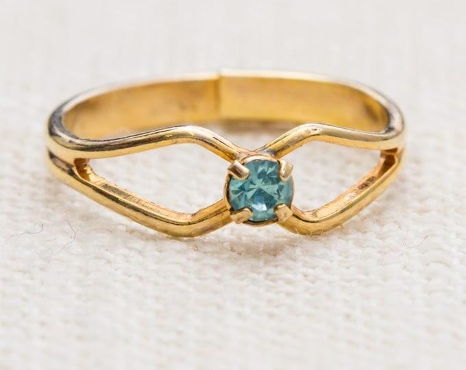 Gold and Aqua Rhinestone Vintage Ring Blue Small Delicate Adjustable 7RI