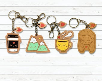 Kawaii Wooden Key-chain