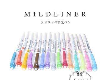 Zebra mildliner highlighters, double sided highlighter, mildliner pens set, mildliner collection, mildliner pastel, mildliner colors