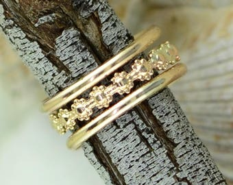 Blossom Thumb Ring -  Sized - Stack of Three Rings - Thumb - Finger - Gold Filled