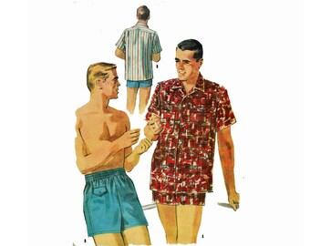 1950s Men's Swim Shorts & Shirt Size Small Chest 34-36 Neck 14-14 1/2 50s Beach Wear Men's swim trunks 50s Uncut Sewing Pattern McCalls 3637