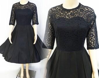 Vintage 1950s Dress//Black Party Dress//50s Dress//New Look//Rockabilly//Femme Fatale//