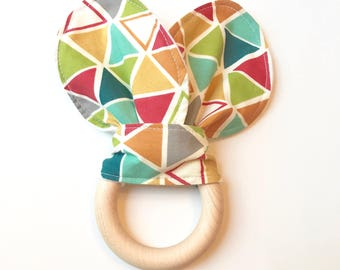 Organic Fabric and Wood Baby Teether with Rabbit Ears. Teether for Boys. Baby Gift. Gifts Under 15.