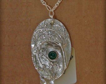 Dill & Malachite Earth Print Fine Silver Pendant