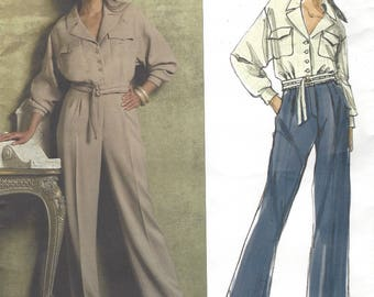 Guy Laroche Womens Loose-fitting Jacket & Pants 2 Piece Faux Jumpsuit Vogue Sewing Pattern V2955 Size 6 8 10 12 Bust 30 1/2 to 34