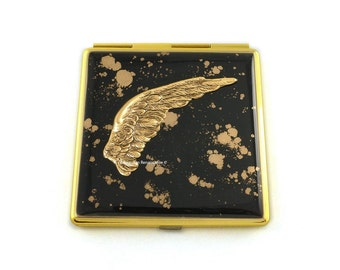 Antique Gold Angel Wing Square Compact Mirror Inlaid in Hand Painted Enamel Gothic Romance Custom Colors and Personalized Options