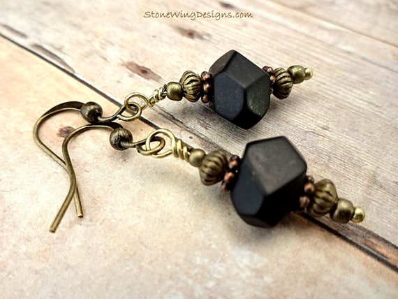 Matte Black Onyx Nugget Earrings With Antique Brass