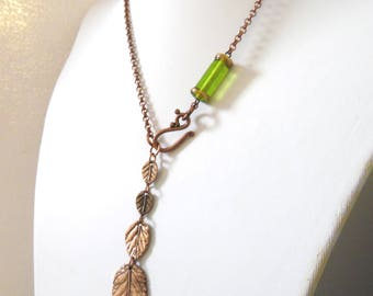 Copper Leaf Lariat Necklace Quad Leaves Jewelry