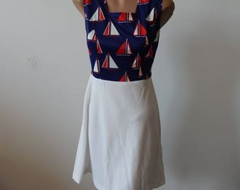 Vintage 1970s Nautical Summer Dress Sz S