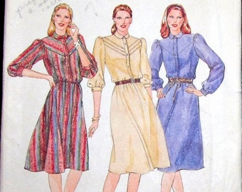 Vintage 1970s Sewing Pattern Butterick 4117 Dress with Yoke Button Bodice Gathered Sleeves Womens Misses Size 10 Bust 32 Uncut Factory Folds
