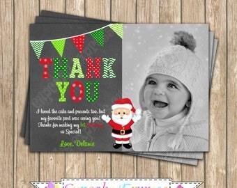 Christmas Thank You card, christmas birthday, Santa thank you, Winter Wonderland, boy first birthday, PRINTABLE, chalkboard thank you