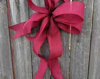 Bow for Wreath, Christmas Wreath Bow, Burgundy Wreath Bow, Bow for Wreath, Burgundy Bow, Lantern, Wedding Decor, Door Wreath Bow