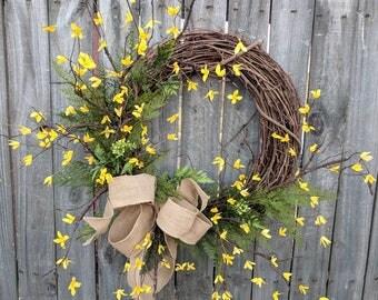 Forsythia Wreath, Yellow Bell Wreath, Spring Wreath, Yellow Spring Wreath, Forsythia and Fern Wreath, Spring Wreaths