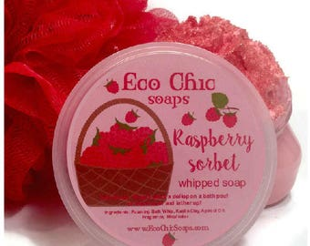 Raspberry Sorbet Whipped Soap - Soap in a Jar  - Body Wash - Fluffy Whipped Soap - VEGAN