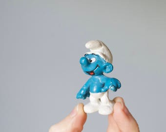 Vintage 1970s Smurfs Action Figure | 1979 Peyo Schleich Hong Kong Toy