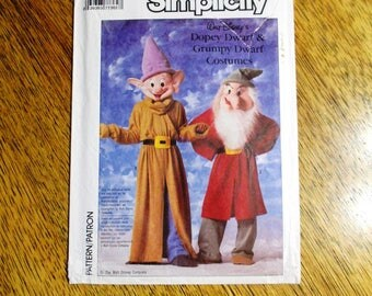 80s Simplicity 7736 Kids Grumpy And Dopey Dwarf Costume