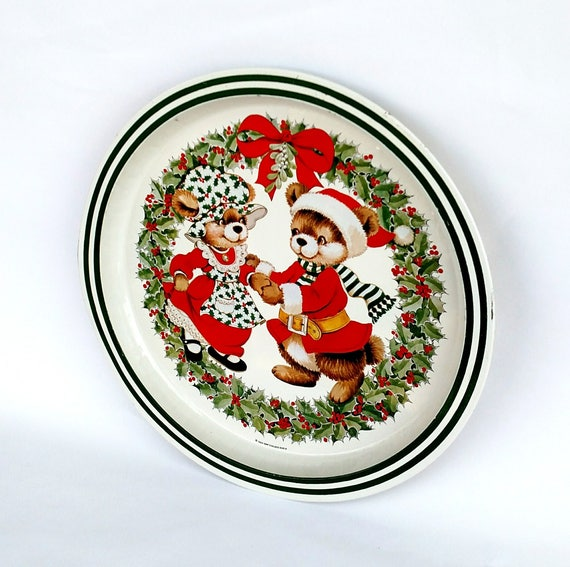 Vintage 1984 Kitschy Cute Christmas Bear Tin Tray