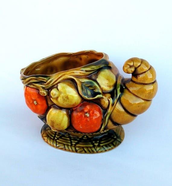 Vintage 1960's Inarco Fruit Bowl Cornucopia in Harvest Gold