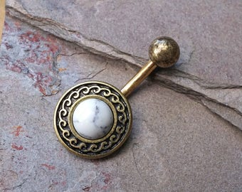 Gold Belly Button Ring White Turquoise