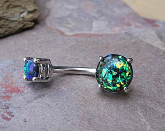 Black Opal Belly Button Ring Opal Belly Ring