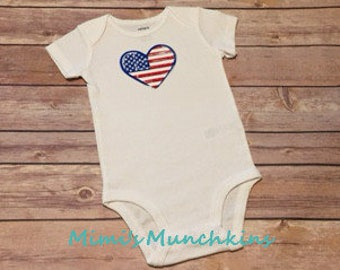 Cool Bodysuit, Baby/Infant Bodysuit, Patriotic, Heart, 4 Sizes available, Ready to Ship