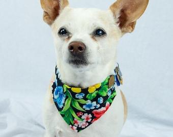 Tropical Floral and Paw Print Reversible Dog Bandana, Slip-on Collar Dog Bandana, Dog Scarf