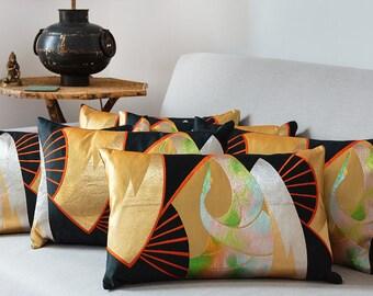 Gold Black Cushion, Asian Throw Pillow, Gold Metallic Pillow, Metallic Cushion, On Trend Pillow, Vintage Japanese Obi Silk Kimono Fan Crane