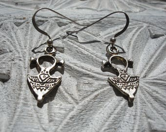 Moroccan silver  tiny Tuareg cross fibula earrings
