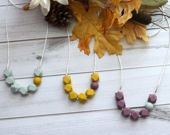 Silicone Teething Necklace w/accent   Chewelry   Teething Necklace for Mom   Baby Shower Gift   Mauvelous & Mystified Mustard Collection