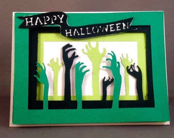I Love Zombies Happy Halloween Card | The Walking Dead Ghosts and Zombies Cute Halloween Card | Trick or Treat Funny Halloween Card | Horror
