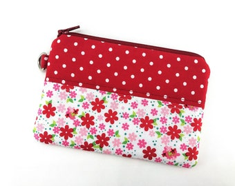 Flower Pouch, Coin Purse, Patchwork Pouch, Red Polka dots Keychain Wallet, Zipper Wallet, Padded Pouch, Gift for her