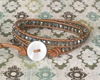 Double Leather Wrap Bracelet Blue and Tan Leather Summer Wrap Free Shipping