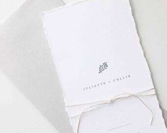Simple Wedding Invitation Sample - Juliette | Letterpress Wedding Invitation | Long Wedding Invite | Leaf Wedding Invitation