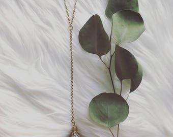 raw amethyst drop necklace