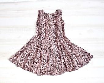 Vintage 90s Leopard Print Dress, 90s Mini Dress, Gauze, Sleeveless, Grunge