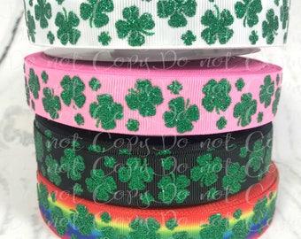 "7/8"", Glitter Shamrock Ribbon, US Designer Ribbon, Shamrocks, Glitter, St. Patricks Day Ribbon, Rainbow Ribbon, DiY Hair Bows, PER YARD"