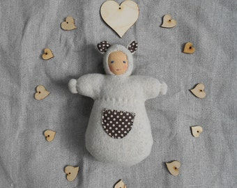 Pure wool and cotton, waldorf doll, cream and brown polka dots bear snuggle pocket doll, all natural materials