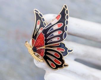 Enamel Butterfly Lapel Pin - Art Nouveau Brooch - Red and Black - Spring Vintage Jewelry
