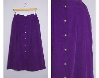 Vintage 1980's Purple Button Front Corduroy Midi Skirt M