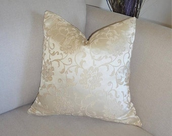 INVENTORY REDUCTION Christmas Holiday Gold Butter Yellow Floral Damask Sateen Pillow Cover 18x18