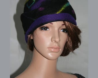 """butterfly Magic"" black, purple and green felt Hat"