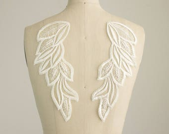 Neckline applique etsy for Angel wings wedding dress