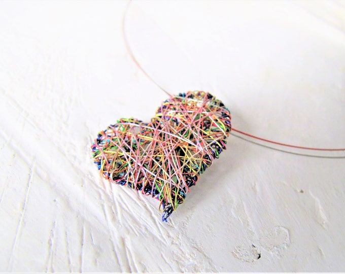 Featured listing image: Purple heart necklace, wire sculpture art necklace, heart pendant, modern hippie, valentines day gift women, anniversary gift, cute necklace